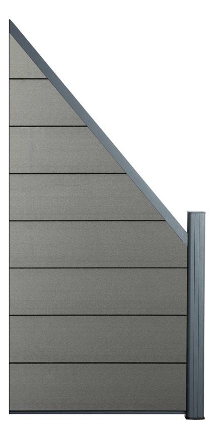Zástěna rozšiřující Silver grey, 45°