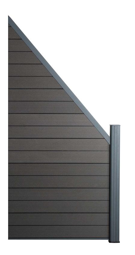Zástěna rozšiřující Ebony grey, 45°